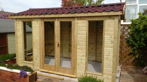 Ketton 12ft x 8ft onduvilla roof shaded red